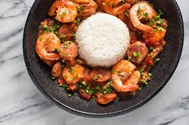 shrimp and cauliflower with gumbo gravy